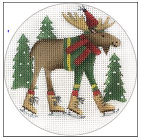click here to view larger image of Moose Skates Ornament (hand painted canvases)