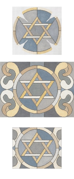 click here to view larger image of Stained Glass Circle Star Grey Yarmulke (hand painted canvases)