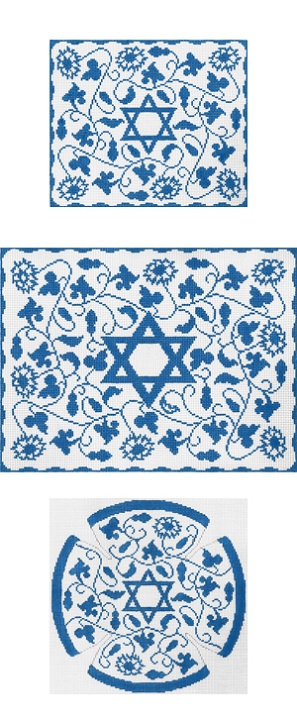 click here to view larger image of Blue Vine Floral Tefillin (hand painted canvases)