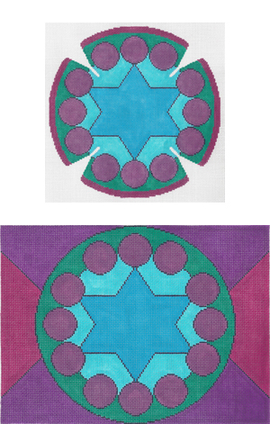 click here to view larger image of New Jerusalem Yarmulke (hand painted canvases)