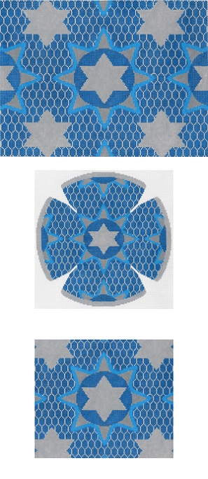 click here to view larger image of Medallion Star Blue Tallis (hand painted canvases)