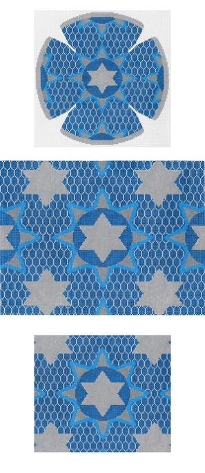 click here to view larger image of Medallion Star Blue Yarmulke (hand painted canvases)