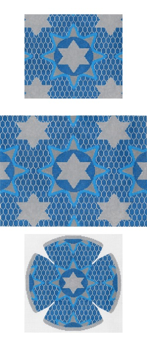 click here to view larger image of Medallion Star Blue Tefillin (hand painted canvases)