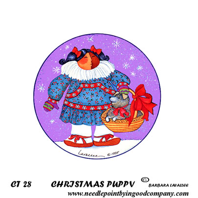 click here to view larger image of Christmas Puppy (hand painted canvases)