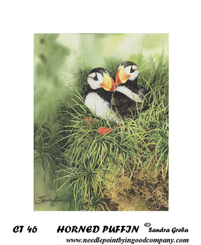 click here to view larger image of Horned Puffin (printed canvas)
