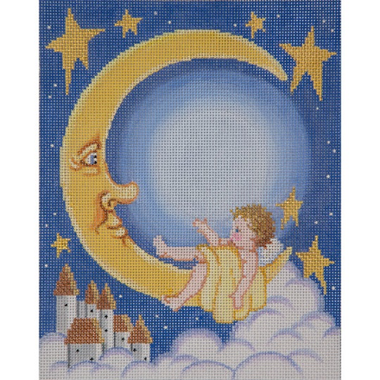 click here to view larger image of Baby and Moon Birth Announcement (hand painted canvases)