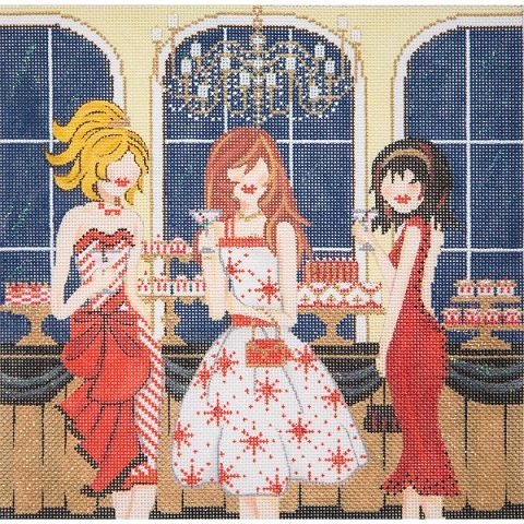 click here to view larger image of Girls At The Red Party (hand painted canvases)