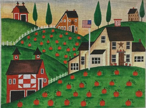 click here to view larger image of Pumpkin Red Barn (hand painted canvases)