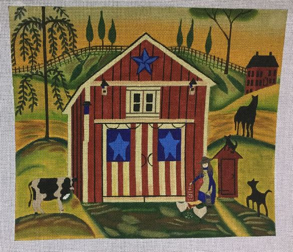 click here to view larger image of Red, White and Blue Farm (hand painted canvases)