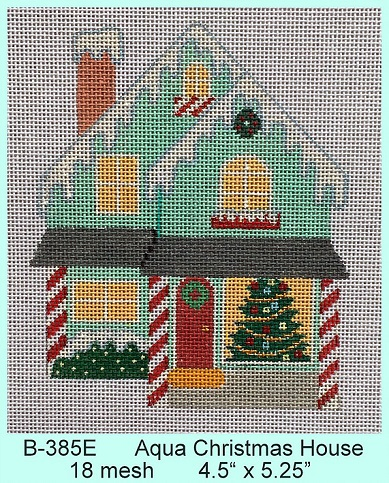 click here to view larger image of Aqua Christmas House (hand painted canvases)