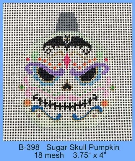 click here to view larger image of Sugar Skull Pumpkin (hand painted canvases)