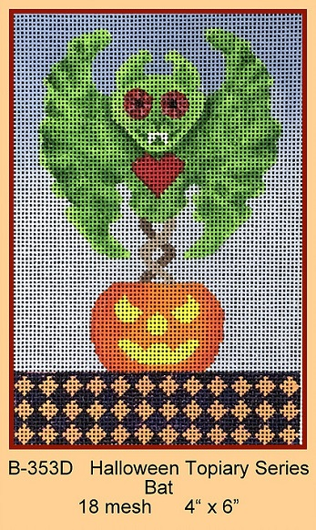 click here to view larger image of Halloween Topiary Series - Bat (hand painted canvases)