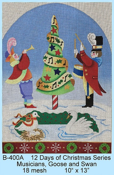 click here to view larger image of 12 Days Of Christmas - Musicians, Goose and Swan (hand painted canvases)