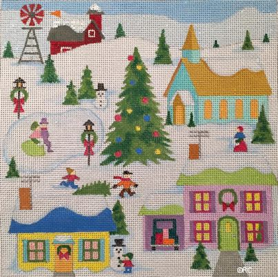 click here to view larger image of Christmas Village (hand painted canvases)