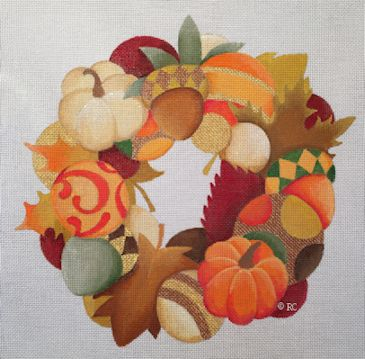click here to view larger image of Autumn Wreath (hand painted canvases)