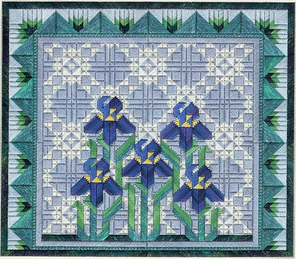 click here to view larger image of Spring Irises (counted canvas work)