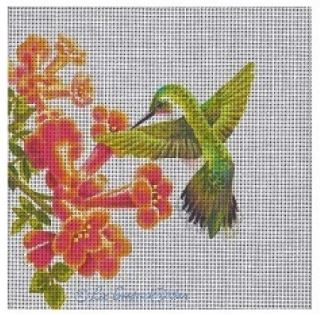 click here to view larger image of Female Ruby Throated Hummingbird (hand painted canvases)