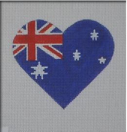 click here to view larger image of Australian Flag Heart (hand painted canvases)