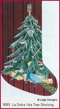 click here to view larger image of La Dolce Vita Tree Stocking (hand painted canvases)