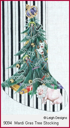 click here to view larger image of Mardi Gras Tree Stocking (hand painted canvases)