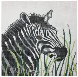 click here to view larger image of Zebra in Grass (hand painted canvases)