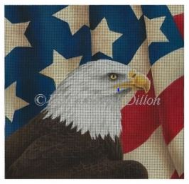 click here to view larger image of Eagle s/Draped Flag (hand painted canvases)