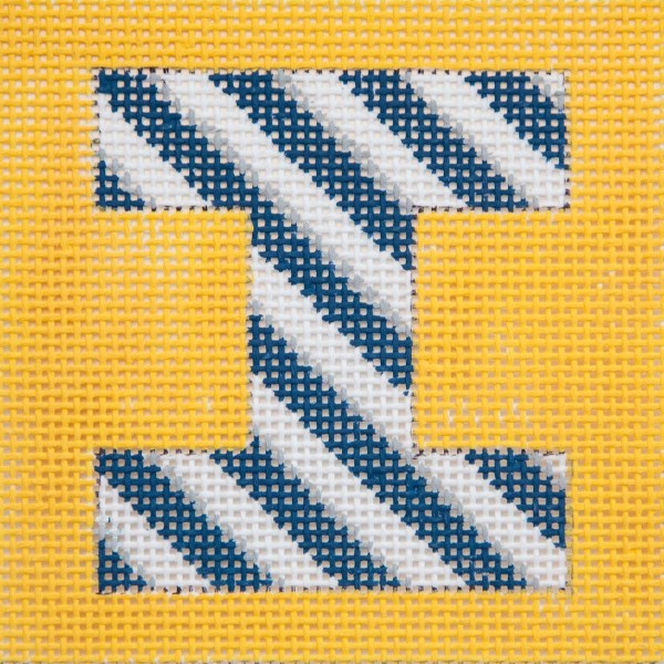 click here to view larger image of Navy/Grey Stripes On Yellow Monogram (hand painted canvases)
