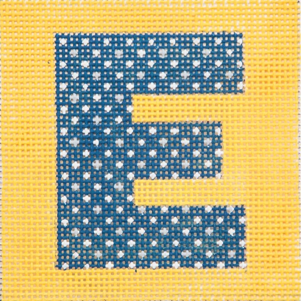 click here to view larger image of Navy Letter On Yellow Monogram (hand painted canvases)