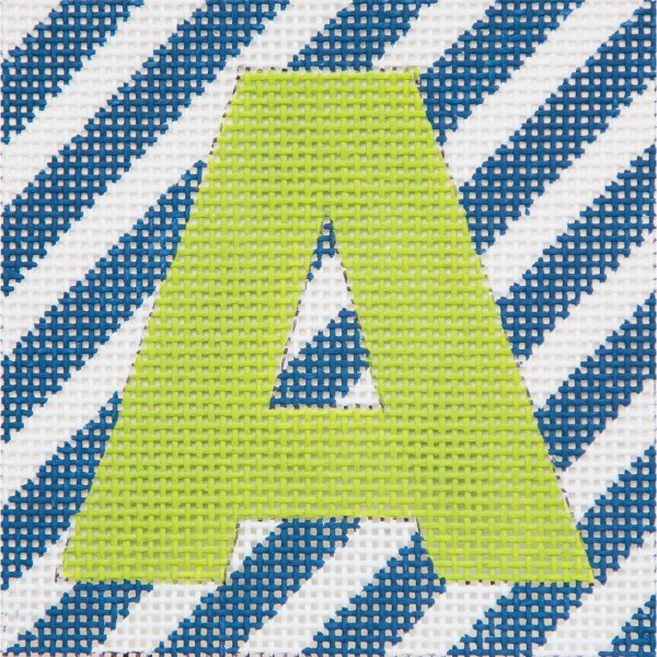 click here to view larger image of Lime Letter On Navy Stripes Monogram (hand painted canvases)