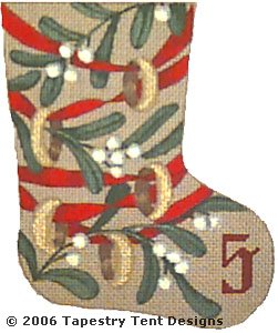 click here to view larger image of 5 Golden Rings - Day 5 Mini Stocking (hand painted canvases)