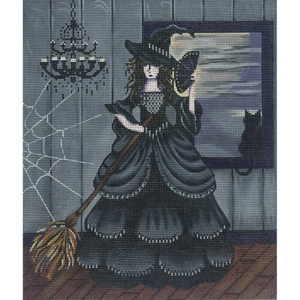 click here to view larger image of Black Witch With Cat (hand painted canvases)