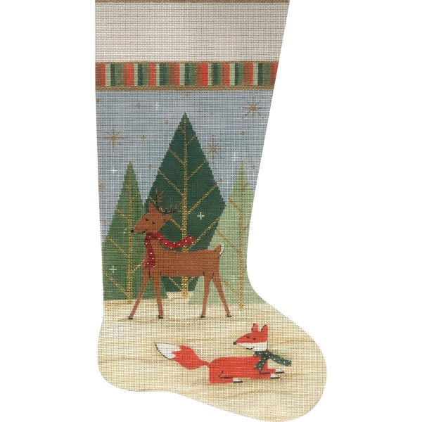 click here to view larger image of Deer And Fox Stocking (hand painted canvases)