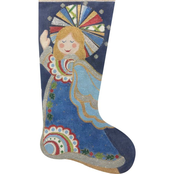 click here to view larger image of Blue Angel Stocking (hand painted canvases)
