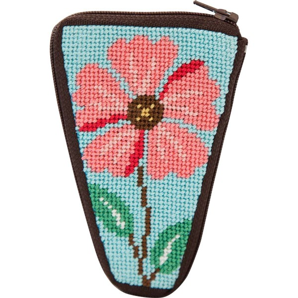 click here to view larger image of Pink Flower Scissors Case (needlepoint kits)