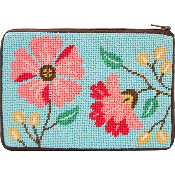 click here to view larger image of Pink Flowers Purse (needlepoint kits)