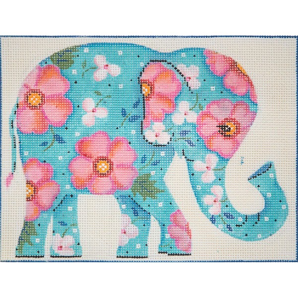 click here to view larger image of Turquoise Floral Elephant (hand painted canvases)