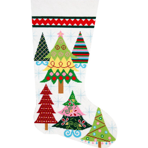 click here to view larger image of Merry Christmas Trees Stocking (needlepoint kits)