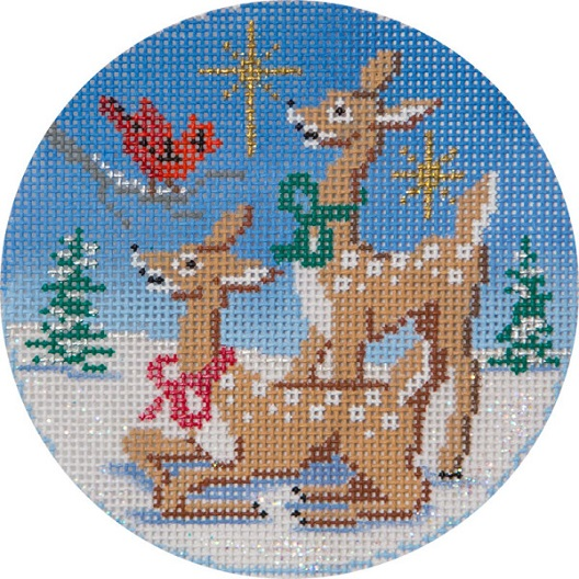 click here to view larger image of Two Deer And Cardinal Ornament (hand painted canvases)