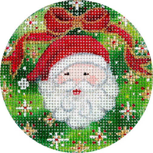 click here to view larger image of Santa and Wreath Ornament (hand painted canvases)
