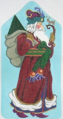 click here to view larger image of Santa Standup w/Deer Staff (hand painted canvases)