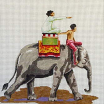 click here to view larger image of Elephant with People (hand painted canvases)