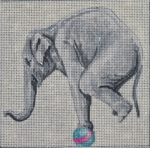 click here to view larger image of Elephant on Ball (hand painted canvases)