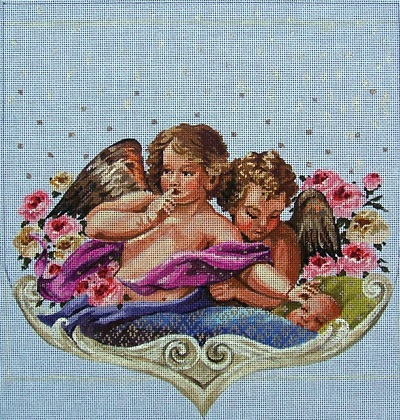 click here to view larger image of Baby/Angels Stocking Cuff (hand painted canvases)