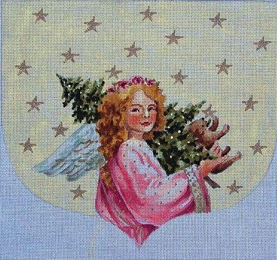 click here to view larger image of Angel with Tree  Stocking Cuff (hand painted canvases)