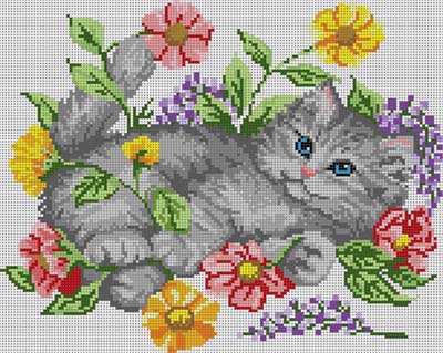 click here to view larger image of Kitten And Flowers (hand painted canvases)