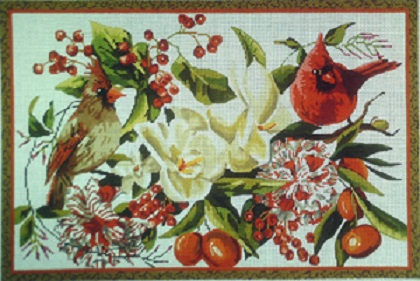 click here to view larger image of Red Birds/Floral - 13 Count (hand painted canvases)