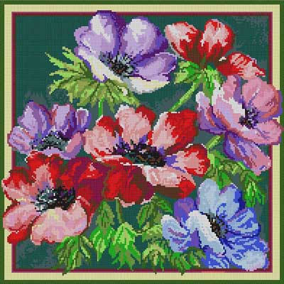 click here to view larger image of Anemones (hand painted canvases)