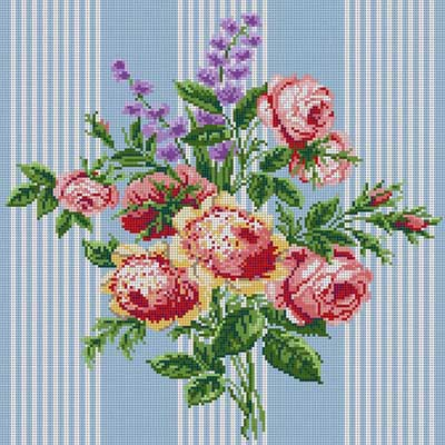 click here to view larger image of Bouquet And Stripes (hand painted canvases)