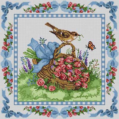 click here to view larger image of Bird Basket (hand painted canvases)
