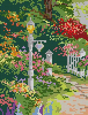 click here to view larger image of Lampost Garden (hand painted canvases)